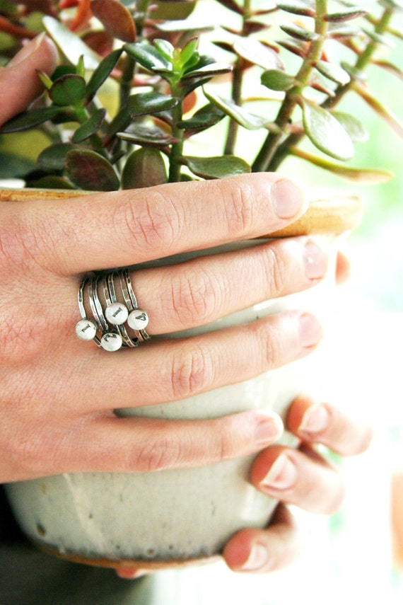 new mommy ring, stacking rings, mothers ring, birthdate ring, personalized jewelry, anniversary ring stack