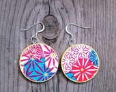 Pink and Blue Geometric Sunburst Earrings -Yuzen Chiyogami , Japanese Paper Earrings, On Turquoise Patina Metal or Wood Disk