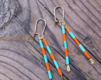 Stripes on Sticks Earrings, Mod Stripes, Mod Colors- Colorful Earrings- Pick your colors