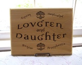 custom woodburned sign Lovgren and Daughter