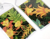Luggage Tags - set of Two - Dark Paradise tropical floral