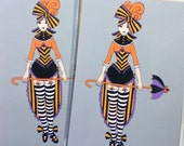 Luggage Tags - set of Two - Victorian Circus Girl - Halloween inspired