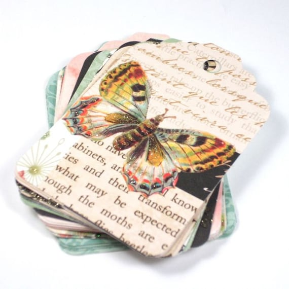 Gift Tags - set of 20 - Butterfly Botanical mix - hand punched paper tags