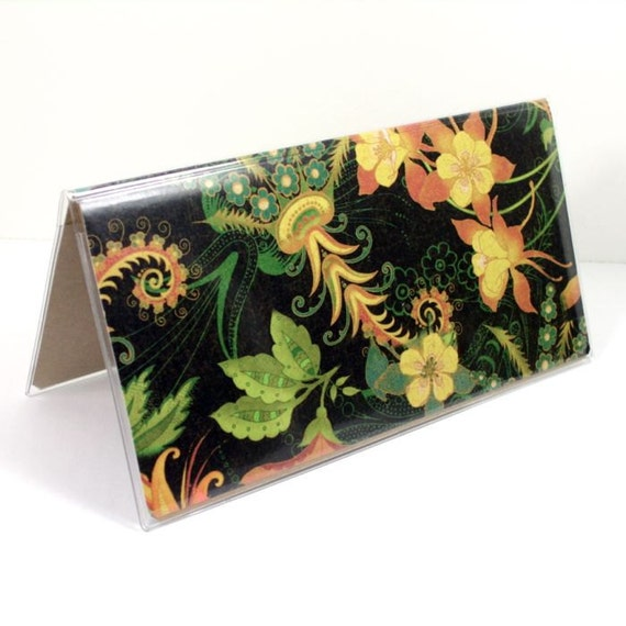 Checkbook Cover - Dark Paradise tropical floral