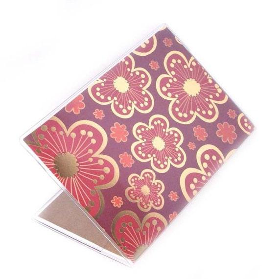 Passport Cover - Gilded Cherry Blossoms  - cute passport holder - red and gold sakura print