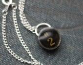 Number 2 Two Typewriter Key Necklace