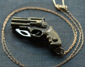 Revolver Gun Shaped Pocket Knife Necklace / Miranda Lambert Style Gun Necklace