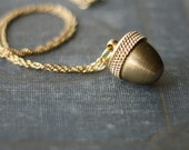 Acorn Canister Locket Necklace Secret Stash Vintage Brass