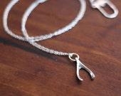 Silver Wishbone Charm Necklace