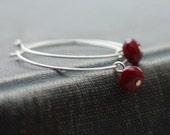 Simple Modern Silver Hoop Earrings with Raspberry Quartz