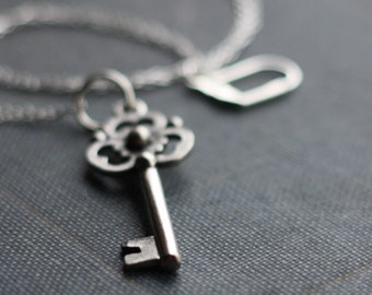 Skeleton Key Necklace Silver Unlocked Secrets