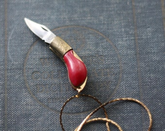 Gun Pocket Knife Necklace - Vintage Brass Bakelite Maroon Pistol