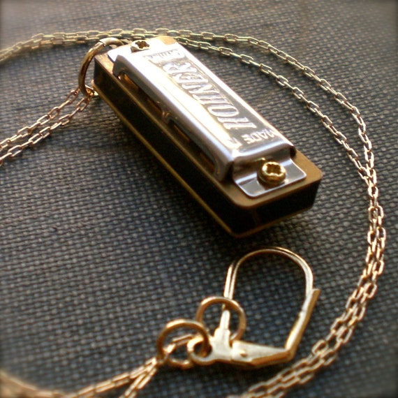 harmonica necklace mini musical instrument