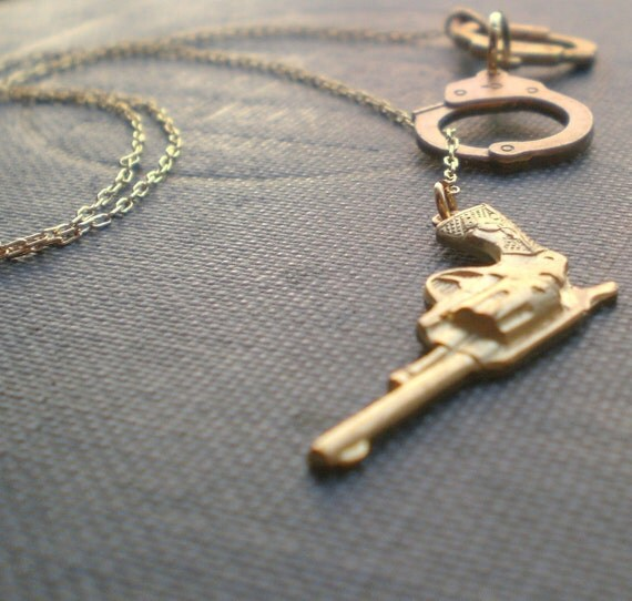 Handcuff Necklace Gold: Handcuff Gun Necklace The Outlaw Lariat By Contrary On Etsy