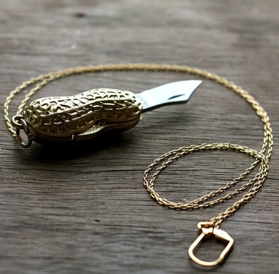 Golden Peanut Goober Folding Pocket Knife Necklace