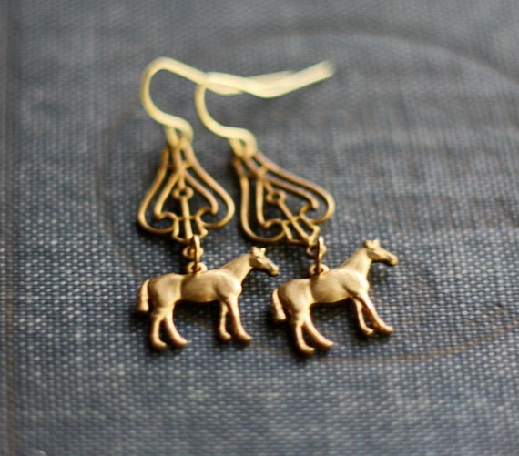Curious Horse Vintage Brass Dangle Earrings