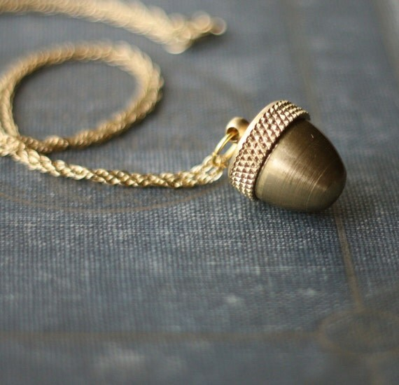 Acorn Canister Locket Necklace Secret Stash Vintage Brass