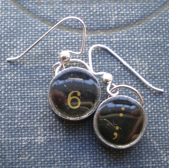 ANTIQUE TYPEWRITER KEY earrings