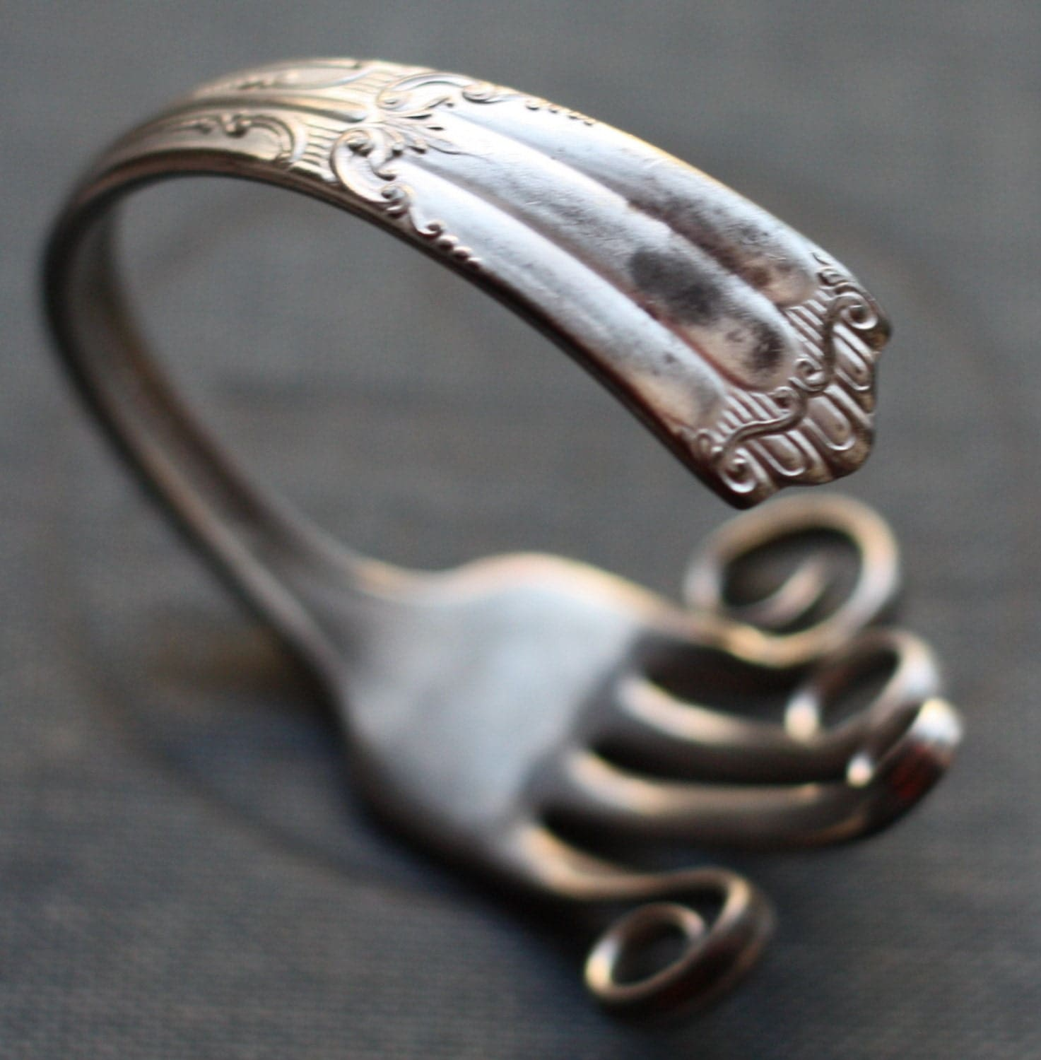 Antique Silver Plated Fork Bracelet