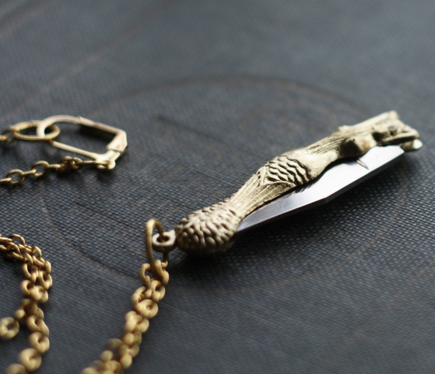 mermaid pocket knife necklace with free shipping by contrary