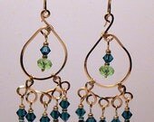 2 1/2 inch 12k and 14k gold filled dangly chandelier hoop earrings