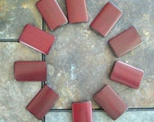 10 - Double Drilled Red Brown Bamboo Tiles for Your Mixed Media Resin Pendants