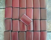 25 - Brown Red Double Drilled Bamboo Tiles for Your Art Projects