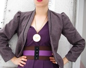 Ava Corset Belt / Chocolate and Purple // Deadstock Vintage Elastic