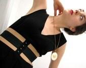 RESERVED Brigette Corset Belt / Beige and Black // Deadstock Vintage Elastic