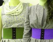 CUSTOM for FLO Set of 2 Sophie Wide Corset Belts in Beige/black &Cream