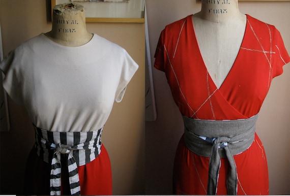 Stripes and Wool Reversible Obi Belt // ooak
