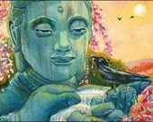 Peaceful Buddha Crow Raven Spring Fountain  Yellow PRINT DW EVN