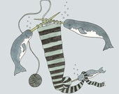 Knitting Narwhals giclee print