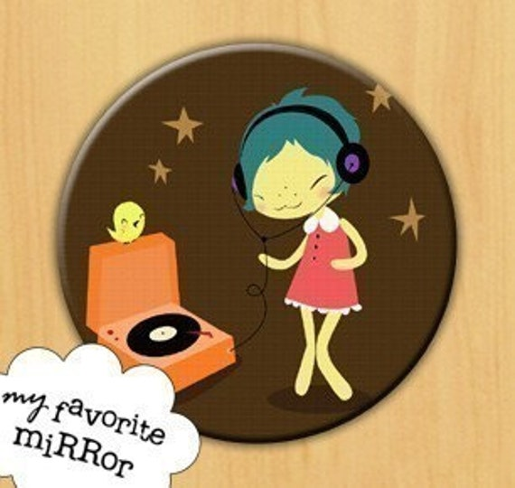 MUSIC is HAPPINESS mouse pad Helena Garcia GIRL record player LP song SINGING dancing MOUSEPAD