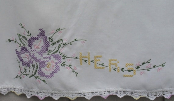 Vintage Hand Embroidered HERS Cross Stitch Lily Pillowcase