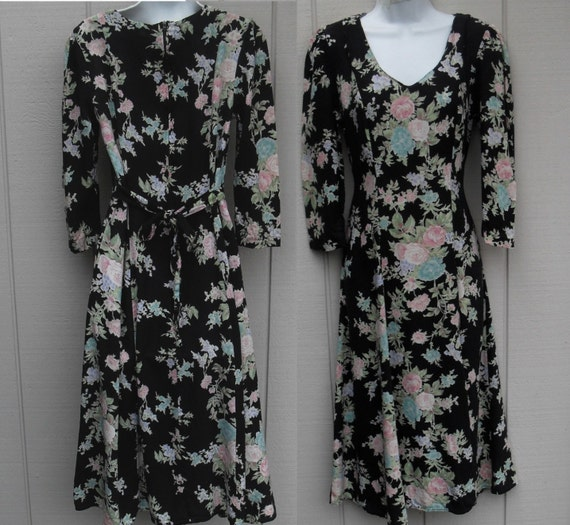 Vintage 90s Grunge Floral Dress Romantic Dark Floral Rayon Long midi length