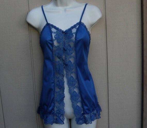 vintage 80s Blue micro mini slip nightgown / J.C. Penney / size Small / peinoir lingerie