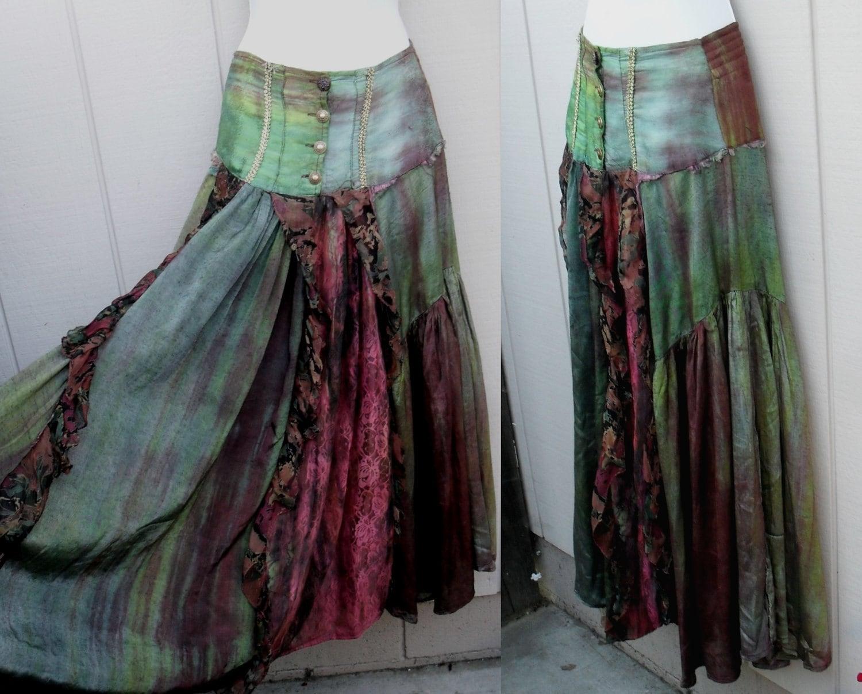 upcycled Tattered GYPSY Skirt boho lacy romantic by BetseyDo
