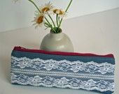 The Audrey - vintage lace zipper pouch with metal zipper