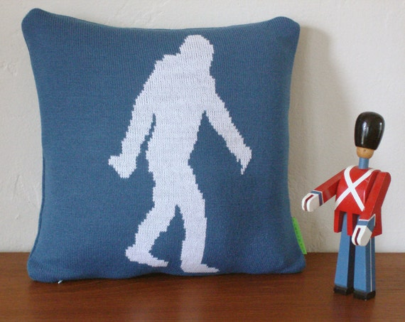 Yeti / Sasquatch/ Bigfoot  Knit Pillow with Faux Down Insert