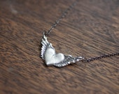 wings necklace - wing necklace - heart wing pendant - winged necklace - sterling silver wings - silver wing necklace - silver wings necklace