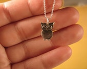 Tiny Baby Hoots - Funky Silver Owl Necklace, Tiny Owl Necklace, Dainty Necklace, Silver Bird Charm Necklace, Steampunk Silver Bird Necklace