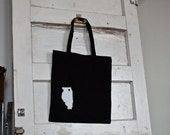 I heart Illinois Screenprinted Tote Bag Screen Printed Tote Bag Chicago Tote Bag Chicago Bag Midwest