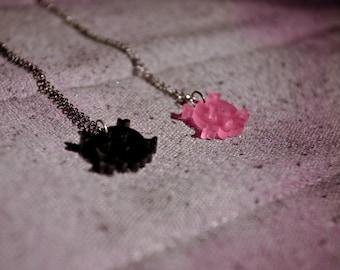 SALE - poison love necklace - black skull necklace - skull jewelry - skull pendant - skull charm - black skull love - skull charms