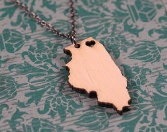 Illinois Necklace - Bamboo - Illinois State Necklace Chicago Necklace Chicago Pride Neighborhoods Wooden State Cutout Map Jewelry