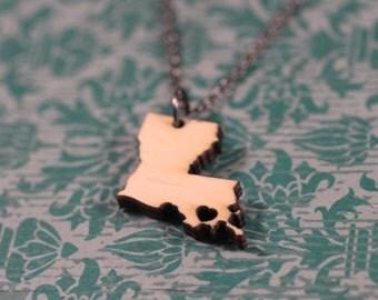 Louisiana State Necklace - Bamboo - Louisiana Necklace Louisiana Jewelry Personalized Wooden Louisiana Charm LA Pendant Stocking Stuffer