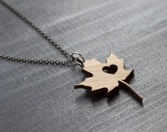 I heart Canada Bamboo - Maple Leaf Necklace Love Canada Necklace Leaf Necklace Maple Necklace Bamboo Necklace Charm Necklace