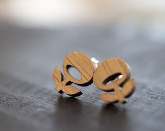 Bamboo Flower Earrings - Hippie Flower Earrings, Hippie Wooden Earrings, Boho Earrings, Lilac Flower Earrings