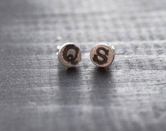 quite strong. letter earrings, initial earrings, initial studs, letter studs, q earrings, s earrings