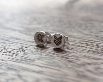 every day chevron earrings - silver chevron earrings - chevron earings - silver chevron earings - chevron studs - silver chevron studs